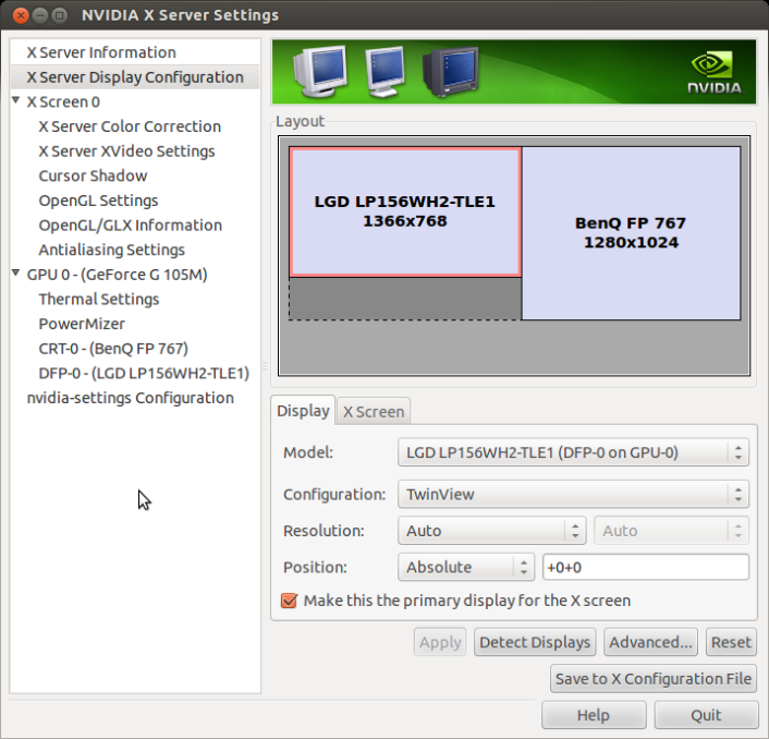 X window nvidia TwinView 雙螢幕設定